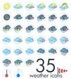 Wetterikonen - 35 verschiedene Wetter plus Thermometer Lizenzfreies Stockfoto