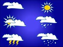 Wetterikonen während aller Jahreszeiten vektor abbildung
