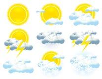 Wetterikonenansammlung Stockbild