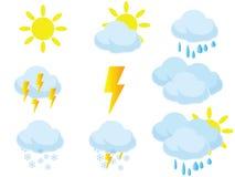 Wetterikonenwolken und -sonne Lizenzfreie Stockfotografie