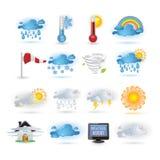 Wetterreport-Ikonenset Lizenzfreies Stockbild