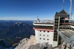 Wetterstation, Berg Zugspitze, Deutschland. Lizenzfreies Stockfoto