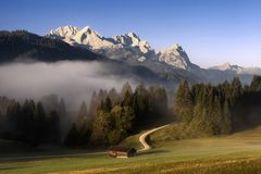 Wetterstein mountain view during autumn morning. Bavarian Alps, stock photography