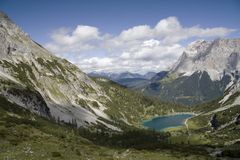 Wetterstein and valley of Seebensee Stock Photos