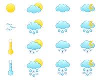 Wettervorhersage-Ikonenset Lizenzfreies Stockfoto