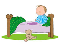 Wetting the bed. Hand drawn picture of young boy who has wet the bed. Illustrated in a loose style. Vector eps available Royalty Free Stock Photos