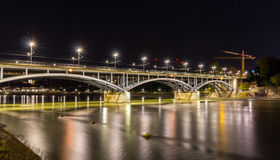 Wettsteinbrucke over the Rhine in Basel by night Stock Photos