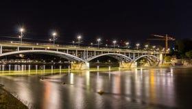 Wettsteinbrucke over the Rhine in Basel by night Stock Photos