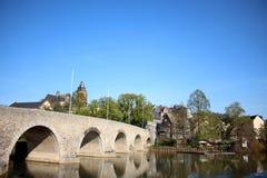 Wetzlar Bridge, `Lahnbrücke Wetzlar` in Wetzlar, Germany Hessen. Wetzlar is located in Hessen, Germany and sits on the Lahn River. The Wetzlar Bridge, or the Stock Photography