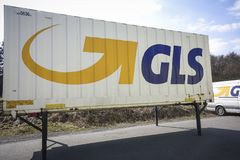 GLS Logo. WETZLAR, Germany -  March25, 2018: GLS logistic Container. General Logistics Systems is a dutch british owned logistics company based in Amsterdam and Royalty Free Stock Photo
