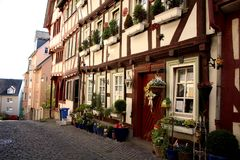 Flower Shop in Wetzlar, Germany Hessen. Wetzlar is located in Hessen, Germany and sits on the Lahn River. In the town`s Altstadt or old city are historic half Stock Photos