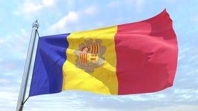 Wevende vlag van het land Andorra royalty-vrije illustratie