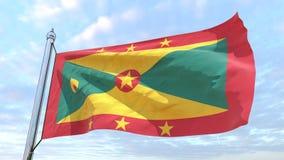 Wevende vlag van het land Grenada stock illustratie