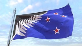 Wevende vlag van het land Nieuw Zeeland stock illustratie