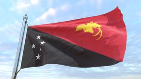 Wevende vlag van het land Papoea-Nieuw-Guinea stock foto