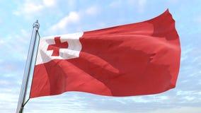 Wevende vlag van het land Tonga stock foto