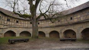 Wewnętrzny podwórze z drzewem i ławkami zdjęcia stock