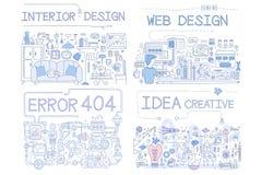 Wewnętrzny projekt, błąd 404, sieć projekt, pomysłów Kreatywnie ręka Rysujący przedmioty i symbol Inkasowa Wektorowa ilustracja, ilustracja wektor