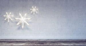 Wewnętrzna Bożenarodzeniowa dekoracja z biel ramą Fotografia Royalty Free
