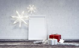 Wewnętrzna Bożenarodzeniowa dekoracja z biel ramą w centrum Zdjęcie Stock