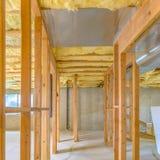 Wewnętrzna drewniana otoczka domowy w budowie zdjęcia stock