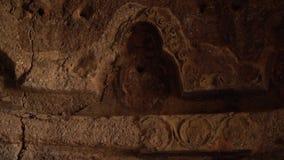 Wewnętrzna grota żyłował z w zawiły sposób projektem przy Buddhas Bamyan zdjęcie wideo