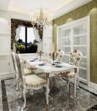 Wewnętrzna jadalnia w klasycznej stylu 3d ilustraci zdjęcia royalty free