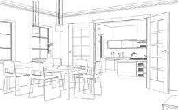 Wewnętrznego projekta Żywy Izbowy obyczajowy rysunek Zdjęcia Stock