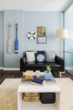 Wewnętrznego projekta błękitny żywy pokój Obrazy Stock