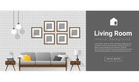 Wewnętrznego projekta Nowożytny żywy izbowy tło Obrazy Royalty Free