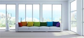 Wewnętrznego projekta nowożytny jaskrawy pokój z białymi kanapy i tęczy poduszkami ilustracja wektor