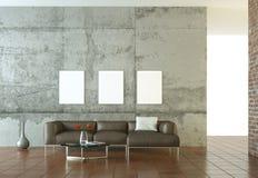 Wewnętrznego projekta nowożytny jaskrawy pokój z brown kanapą royalty ilustracja