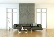 Wewnętrznego projekta nowożytny jaskrawy pokój z czarną kanapą ilustracji