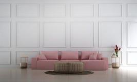 Wewnętrznego projekta pojęcie luksusowa żywa pokoju i bielu ściana deseniuje tło royalty ilustracja