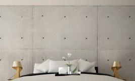 Wewnętrznego projekta pomysł nowożytny sypialni i betonowej ściany tekstury tło Zdjęcia Royalty Free