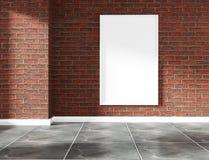 Wewnętrznego projekta pusta izbowa ściana z cegieł i granitowa dachówkowa podłoga wyśmiewamy w górę ?wiadczenia 3 d obraz stock