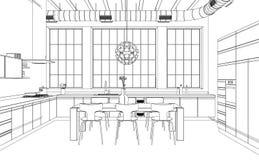 Wewnętrznego projekta rysunku nowożytny Kuchenny plan ilustracja wektor