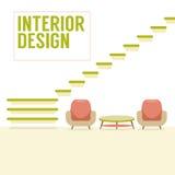 Wewnętrznego projekta schodki Z krzesłami Ustawiającymi Zdjęcia Stock