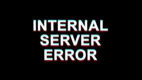 Wewnętrznego serweru błędu usterki skutka teksta TV wykoślawienia 4K pętli cyfrowa animacja royalty ilustracja