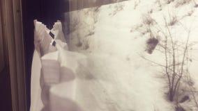 Wewnętrznej furgon zimy śnieżny las na zewnątrz nadokiennego kolejowego frachtu wśrodku linia kolejowa samochodu Poj?cie taborowa zbiory