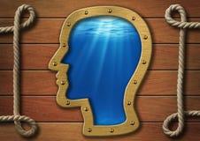 Wewnętrzny światowy pojęcie. Kierowniczy porthole na ścianie i morze podwodny Fotografia Royalty Free