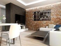 wewnętrzny żywy nowożytny pokój Obrazy Stock
