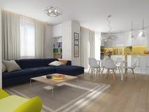 Wewnętrzny żywy pokój, jadalnia, kuchnia Zdjęcia Stock