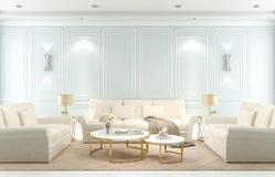 Wewnętrzny żywy pokój, nowożytny klasyka styl, błękit ściana, 3D odpłaca się zdjęcia royalty free