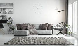 Wewnętrzny żywy pokój, scandinavian styl z luźną kanapą & furn, zdjęcia royalty free