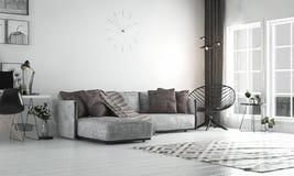 Wewnętrzny żywy pokój, scandinavian styl z luźną kanapą & furn, zdjęcia stock