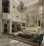 Wewnętrzny żywy pokój w klasycznej stylu 3d ilustraci ilustracja wektor
