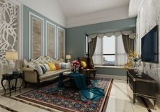 Wewnętrzny żywy pokój w klasycznej stylu 3d ilustraci royalty ilustracja