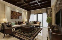 Wewnętrzny żywy pokój w klasycznej stylu 3d ilustraci ilustracji