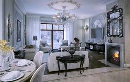Wewnętrzny żywy pokój w klasyka stylu ilustracja wektor